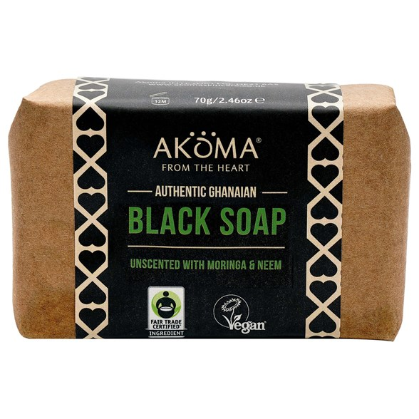 Akoma Black Soap Bar with Moringa & Neem, 70 g